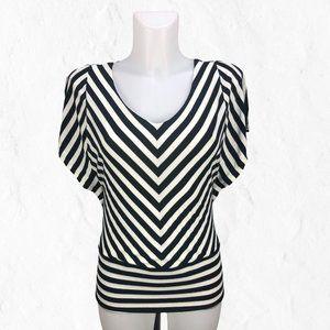 Black & White Fitted Slit Kimono Sleeve WHBM Top S